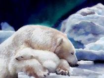 White Polar Bear With A Small Baby Bear. by Elena Oglezneva
