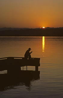 Fisherman on Dock by Jim Corwin