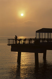 Silhouetted Fisherman at Sunset von Jim Corwin
