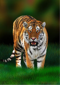 Wild Tiger on Green von bluedarkart-lem