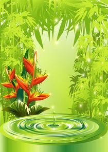Zen Green Bamboo Heliconias and Water von bluedarkart-lem