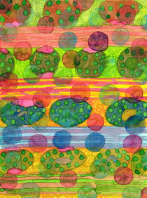 Round Shapes within and above horizontal Stripes  von Heidi  Capitaine