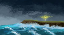 Lighthouse in a stormy sea by Dorina Boneva