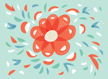 Whimsical Decorative Red Flower by Boriana Giormova