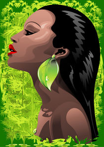 Woman African Beauty and Bamboo von bluedarkart-lem