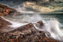 Crashing waves and storm clouds by Leighton Collins