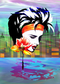 Metropolis Nostalgia Vaporwave Art  von bluedarkart-lem