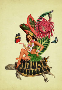Hula Girl riding a turtle by Elisandra Sevenstar