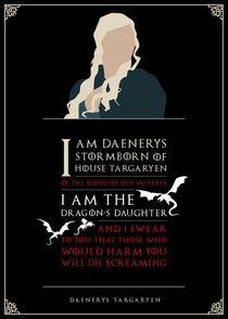Daenerys Targaryen - Minimalist Quote Poster by mequem design