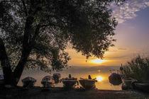 Fischerboote auf der Insel Reichenau bei Sonnenaufgang von Christine Horn