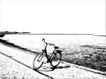 Küstenlandschaft mit Fahrrad von Detlev Kluin