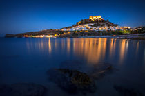 Romantic village at Lindos by Zoltan Duray
