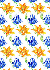 Columbine and Lily Hand Painted Floral Pattern by Katri Ketola