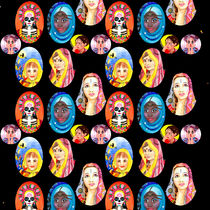 Ethnic Girls Hand Painted Pattern by Katri Ketola