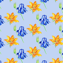 Columbine and Lily Hand Painted Diagonally Repeating Floral Pattern by Katri Ketola