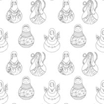 Matryoshka Doll Hand Drawn Line Art Pattern by Katri Ketola