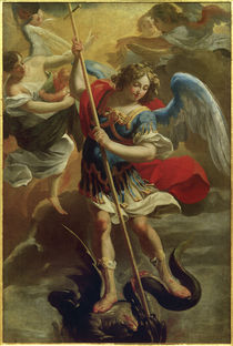 A.Vouet, Der Erzengel Michael besiegt den Drachen by AKG  Images