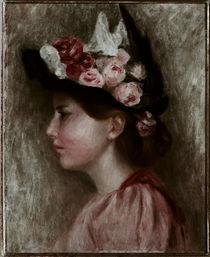 A. Renoir, Mädchen mit schwarzem Hut / Gemälde, 1895 von AKG  Images
