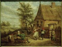 Art d.David Teniers d. J., Bauernfest: Tanzende Figuren vor einem Gasthaus von AKG  Images