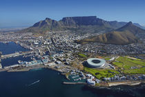 Aerial view of Cape Town Stadium, V & A Waterfront, and Tabl... by Danita Delimont