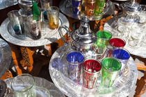 Pots of mint tea & glasses, The Souk, Marrakech, Morocco by Danita Delimont