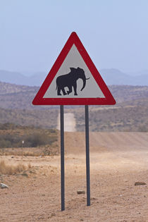 Desert elephant warning sign, C35 road near Uis, Erongo Regi... by Danita Delimont