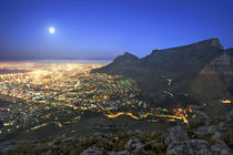 Full moon over city and Table Mountain, Cape Town, Western C... by Danita Delimont