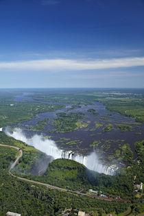 Aerial view of Victoria Falls or Mosi-oa-Tunya, and Zambezi ... by Danita Delimont