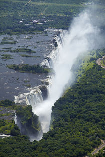 Aerial view of Victoria Falls or Mosi-oa-Tunya, and Zambezi ... by Danita Delimont