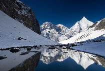 Mount Jichu Drake and Sophu Lake seen on Jhomolhari trek, Bhutan. von Danita Delimont