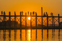 Mandalay. Amarapura. U Bein Bridge. Tourists walking on the ... by Danita Delimont