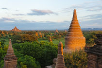 Ancient temples and pagodas at sunset, Bagan, Mandalay Region, Myanmar by Danita Delimont