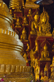 Pagoda and Buddhist statues inside Pindaya Cave, Shan State, Myanmar by Danita Delimont
