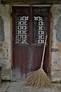 Hongcun Villiage, Doorway with broom, China, UNESCO World He... by Danita Delimont