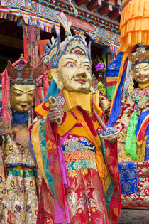 Masked dancers at Wachuk Tibetan buddhist monastery, nr Xinlong by Danita Delimont