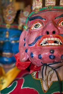 Masked dancers at Tibetan buddhist monastery nr Xinlong, Sichuan by Danita Delimont