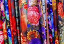 Chinese Colorful Flower Silk Scarves Yuyuan Shanghai China by Danita Delimont