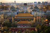Jinshang Park Looking North at Drum Tower Beijing China Overview by Danita Delimont