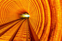 Golden Highway Rail Abstract Underground Railway Bund Shanghai China by Danita Delimont
