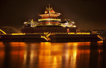 Ancient Temple Night Reflection Bridge Jinming Lake Kaifeng Chin von Danita Delimont