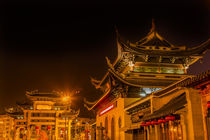 Entrance Gate Buddhist Nanchang Temple Pagoda Wuxi Jiangsu China Night by Danita Delimont