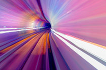 Pink Blue Rail Abstract Underground Railway Bund Shanghai China by Danita Delimont
