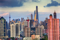 Puxi Pudong Buildings Skyscrapers Cityscape Shanghai China by Danita Delimont