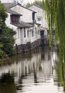 Ancient Chinese Houses Reflection Canals Suzhou China by Danita Delimont