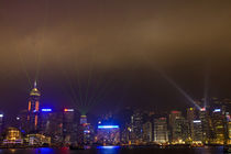 Night Lazer show on Hong Kong waterfront by Danita Delimont