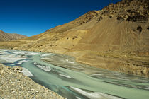 India, Ladakh, scenic rugged landscape with green river in t... by Danita Delimont