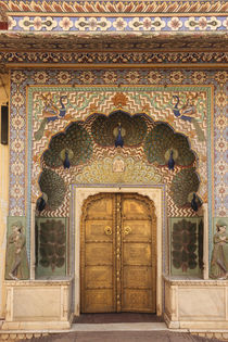 India, Rajasthan, Jaipur, Peacock door at City Palace. by Danita Delimont