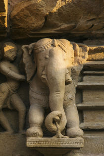 Nymph and the elephant, Khajuraho, Madhya Pradesh, India. by Danita Delimont