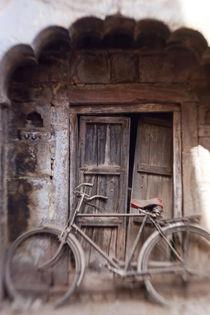 Bicycle in doorway, Jodhpur, Rajasthan, India by Danita Delimont