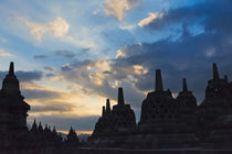 Borobudur at dusk, UNESCO World Heritage site, Java, Indonesia by Danita Delimont